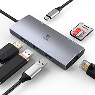 USB C Multiport Adapter for Apple MacBook Pro 13/15(Thunderbolt 3)2018,2017,2016,Mac Air 2018 USB C Hub,HDMI 4K,2USB 3.0,Gigabit Ethernet,SD/TF Card Reader,Type-C PD Charge Dock for Samsung Dex Dongle