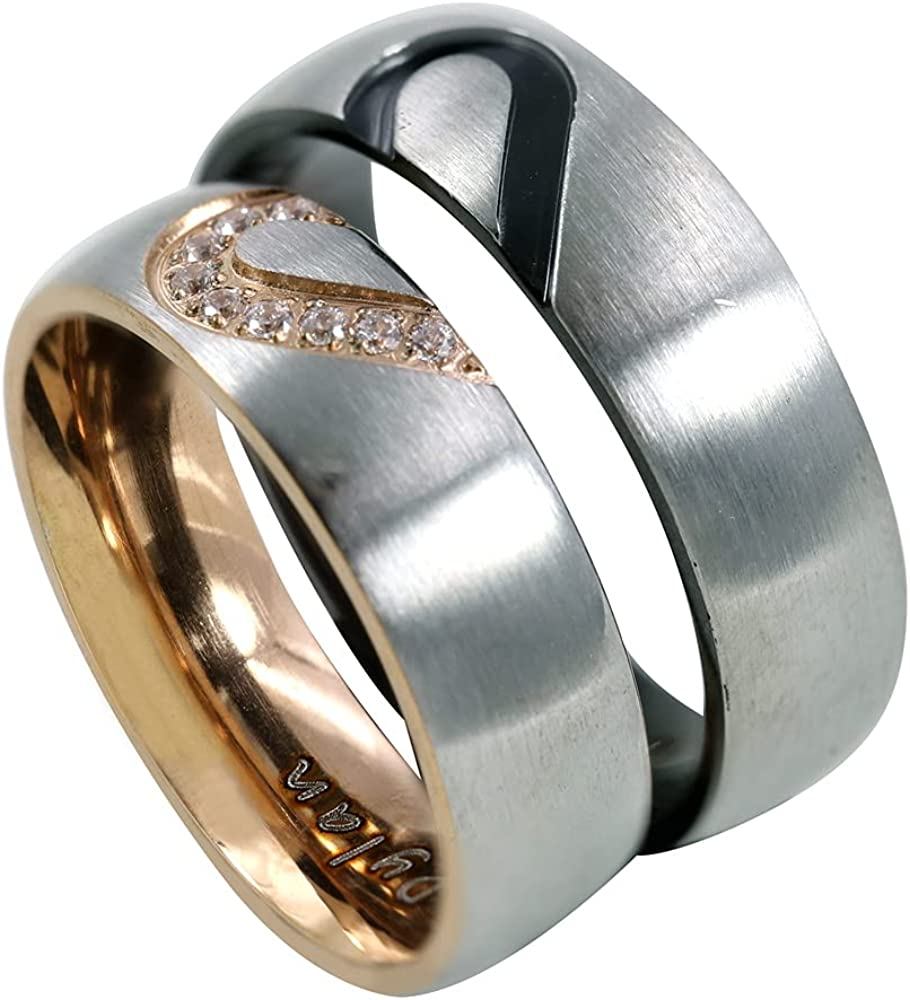 Seattle Mall RemonSum Personalized Matching Heart Titanium Sale Special Price Rings Stai Couples