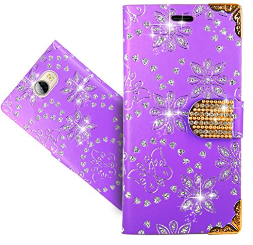 Huawei Y6 II Compact/Huawei Y5 II Handy Tasche, FoneExpert® Bling Luxus Diamant Wallet Hülle Flip Cover Hüllen Etui Hülle Ledertasche Lederhülle Schutzhülle Für Huawei Y6 II Compact/Huawei Y5 II