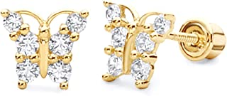 14k Yellow Gold Butterfly Stud Earrings with Screw Back - 2 Different Color Available