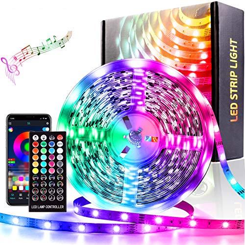 LED Strip 10M Lichtband APP Steuerbar Musik LED Band Lichterkette für Haus Funktioniert mit Google Home Farbwechsel Hell 5050 LED Band Leiste Lichterketten Klebeband Selbstklebende für Zuhause