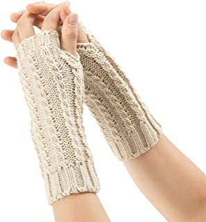 SGJFZD Women's Winter Cozy Wool Gloves Knit Arm Warmer Cable Knit Fingerless Gloves Mittens Thermal Gloves (Color : Beige)