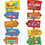 10 Pieces Gone Fishing Party Decorations Signs Little Fisherman Cutouts The Big One Party Directional Welcome Door Banner for Kids Baby Shower Birthday Party Favor Ideas Gone Fishing Theme Supplies