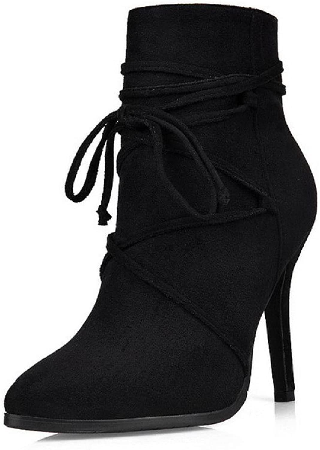WeenFashion Women's Imitated Suede Low Top Solid Zipper Spikes Stilettos Boots