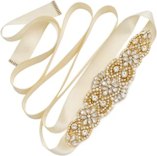 Yanstar Handmade Bridal Belt Wedding Belts Sashes Rhinestone Crystal Beads Belt For Bridal Gowns