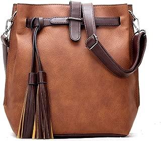 Oil Wax Skin Boston One Shoulder Slung Mobile Female Bag Locomotive Big Bag Handbag Female Bag Handbags (Color : Brown)