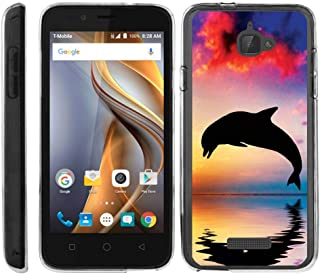 TurtleArmor | Compatible with Coolpad Case | 3622A Case [Flexible Armor] Ultra Slim Compact Flexible Clear TPU Case Fitted Soft Bumper Cover Animal - Dolphin Jump