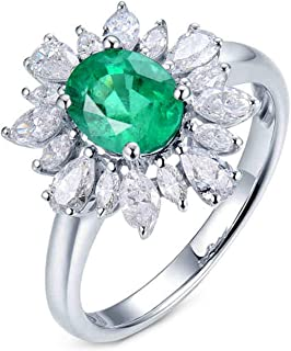 ButiRest - Anello da donna in oro bianco 750 18 carati con 4 denti taglio ovale 1,228 ct verde smeraldo VS e diamante 0,88 ct