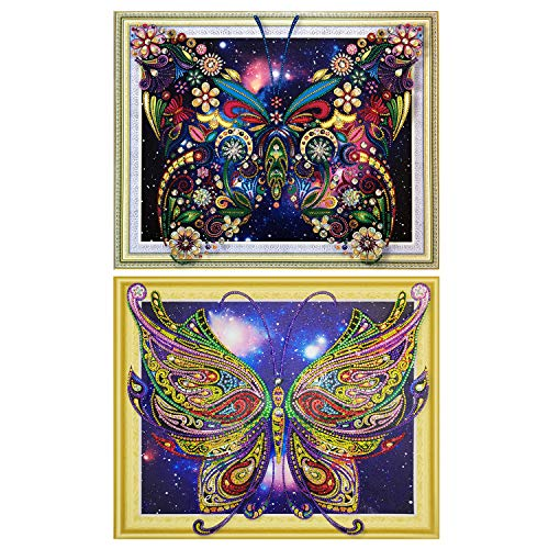 HaiMay 2 Pack DIY 5D Diamond Painting Kits Full Drill Rhinestone Painting Butterfly Diamond Pictures for Wall Decoration,Dreamy Style (Canvas 16