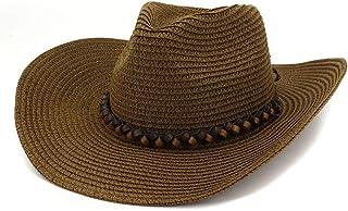 ウエスタンカウボーイハット ウエスタンカウボーイハット屋外ビーチハットバイザー女性ビッグサンハットレザー織ロープフェドーラ帽子麦わら帽子 (色 : コーヒー, サイズ : 56-58CM)