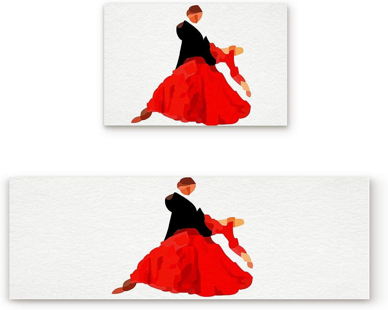 KAROLA 2 Piece Non-Slip Kitchen Mat Doormat Runner Rug Set Thin Low Pile Indoor Area Rugs Abstract Print Beautiful Dancer 19.7 x31.5 +19.7 x63