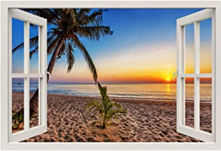 Pbldb 3D Window Frame Mural Tropical Beach at Sunset Wall Sticker Vinyl Decal Decor Mural Kitchen Bathroom Motorbike Wall Art -120X100Cm