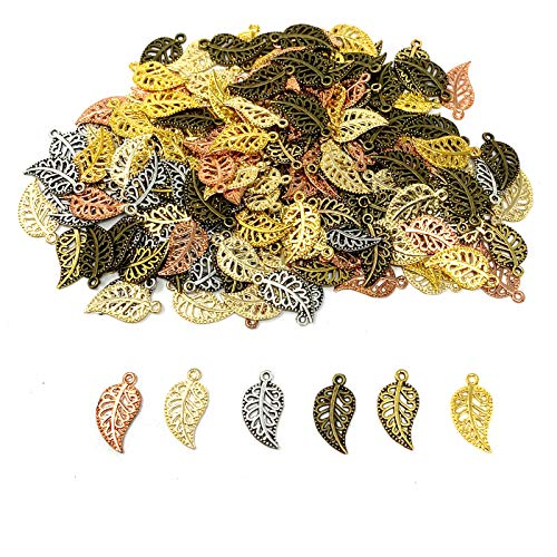 JIALEEY 210PCS Mixed 6 Color Hollow Filigree Leaves Charms Pendants Craft Supplies for Necklace Bracelet Jewelry Making