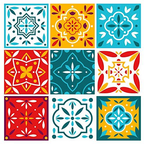 Pegatinas para azulejos de pared Wall Stickers Ladrillos de pared de PVC impermeable Autoadhesivo decoración para cocina baño restaurante Hotel Made in Italy-Ideastore (marroquí 15 x 15 cm)