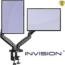 Invision Supporto per 2 Monitor da Scrivania - Ergonomico Altezza Regolabile (Assistenza Gas) per Schermi 17 a 27 Pollici - Inclinazione e Girevole VESA 75x75mm e 100x100mm Peso 2-6,5 kg (MX300)