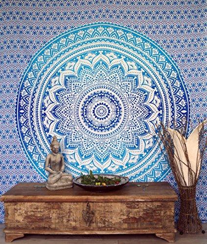 GURU SHOP Boho-Style Wandbehang, Indische Tagesdecke Mandala Druck- Blau/türkis, Baumwolle, 230x210 cm, Bettüberwurf, Sofa Überwurf