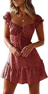 Womens Summer Ruffle Sleeve Sweetheart Neckline Printing...