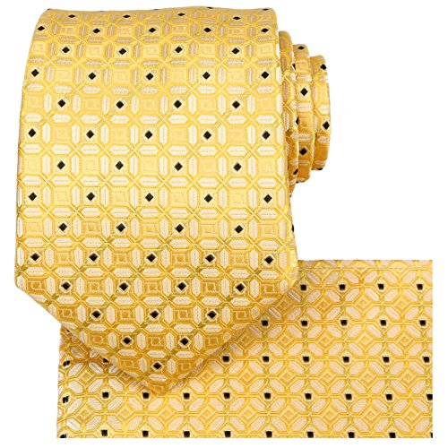 KissTies Gold Yellow Tie Set Fortunate Lucky Necktie + Pocket Square