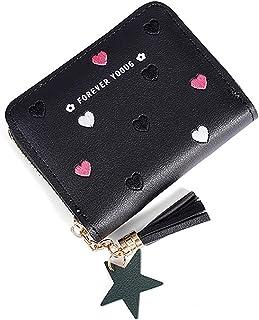 Fansport Girls Coin Wallet Fashion Star Tassel Design Small Zipper Change Purse Pink Black Heart Pattern Wallet Change Bag...