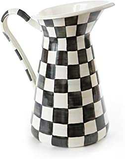 MacKenzie-Childs Large Pitcher - Stainless Steel Enamel Courtly Check - Black and White, Coffee Creamer - 7