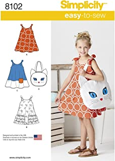 Simplicity 8102 Girl's Cat Tote Bag and Sundress Sewing Pattern, Sizes 3-8