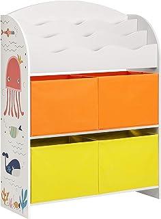 SONGMICS Estantería de Juguetes, Librería Infantil con 3 Compartimentos, con 4 Cestas de Almacenamiento, para Habitación de los Niños y Sala de Juegos, Blanco GKRS40WT