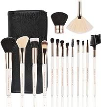 Makeup Brushes Set 15pc Rose Gold Make Up Brush Set Premium Synthetic Foundation Powder Concealers Eye Shadows With Professional Easy Travel Vegan Leather Case Bag Organizer