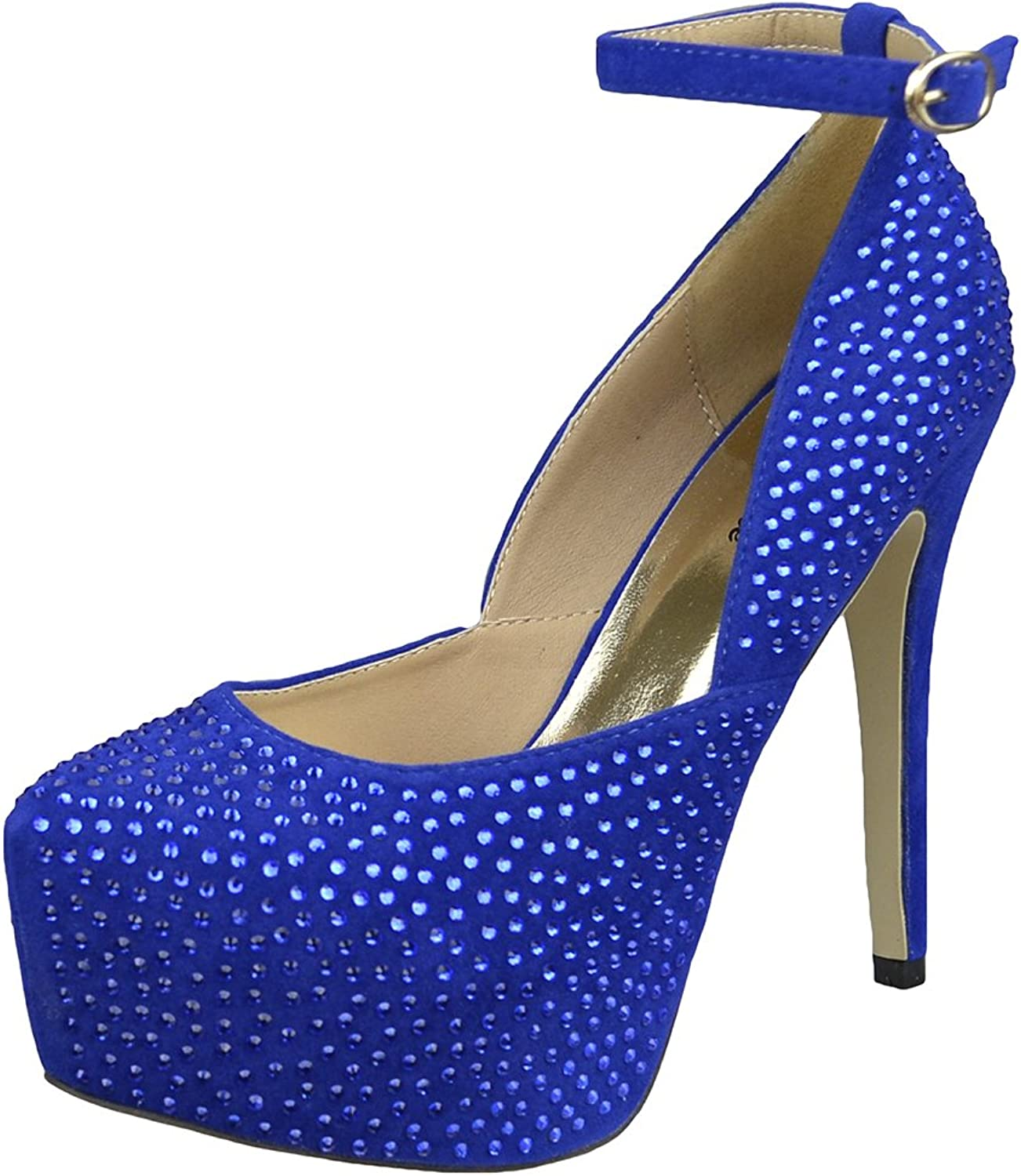 DS By KSC Womens Platform shoes Sexy Glitter Scoop Vamp High Heel Dress shoes bluee
