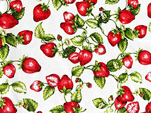 Erdbeere Stoff | 100% Baumwolle | Produkt Stoffbreite: 180 cm-Pro Laufmeter und Tischdecken (Pro Laufmeter (1,00 m x 1,80 m))