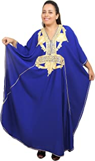 Moroccan Caftan Women Plus size Hand Made Caftan with Embroidery XXL to 4XL Blue