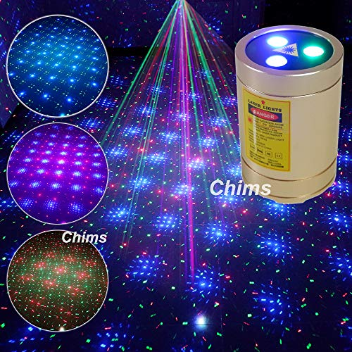 Mini Laser Lights, Chims RGB Star Points Laser Show DJ Party Home Disco Light Portable Cordless USB Rechargeable Music Sound Activated Stage Laser Light for Car Holiday Home School Disco Birthday Gift