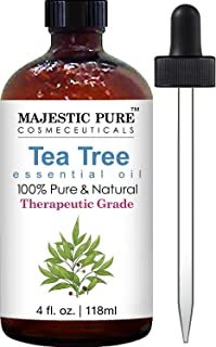 Majestic Pure Tea Tree Oil Melaleuca Alternifolia Therapeurtic Grade with Dropper, Tea Tree Essential Oil for Face, Hair, Skin, Acne, Scalp, Foot, Cuticle, Nails and Toenails - 4 Onces