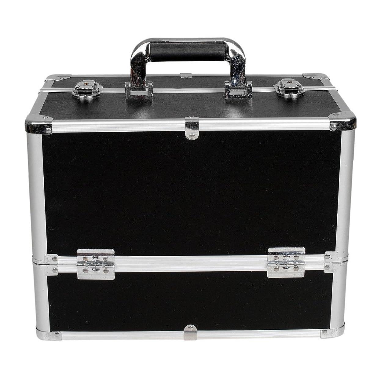 規範交じるダニ[プロ仕様]Hapilife メイクボックス 大容量 6つトレイ 幅37cm ネイル ジュエリー ドライヤー アクセサリー シューケア用品 収納ケース ブラック