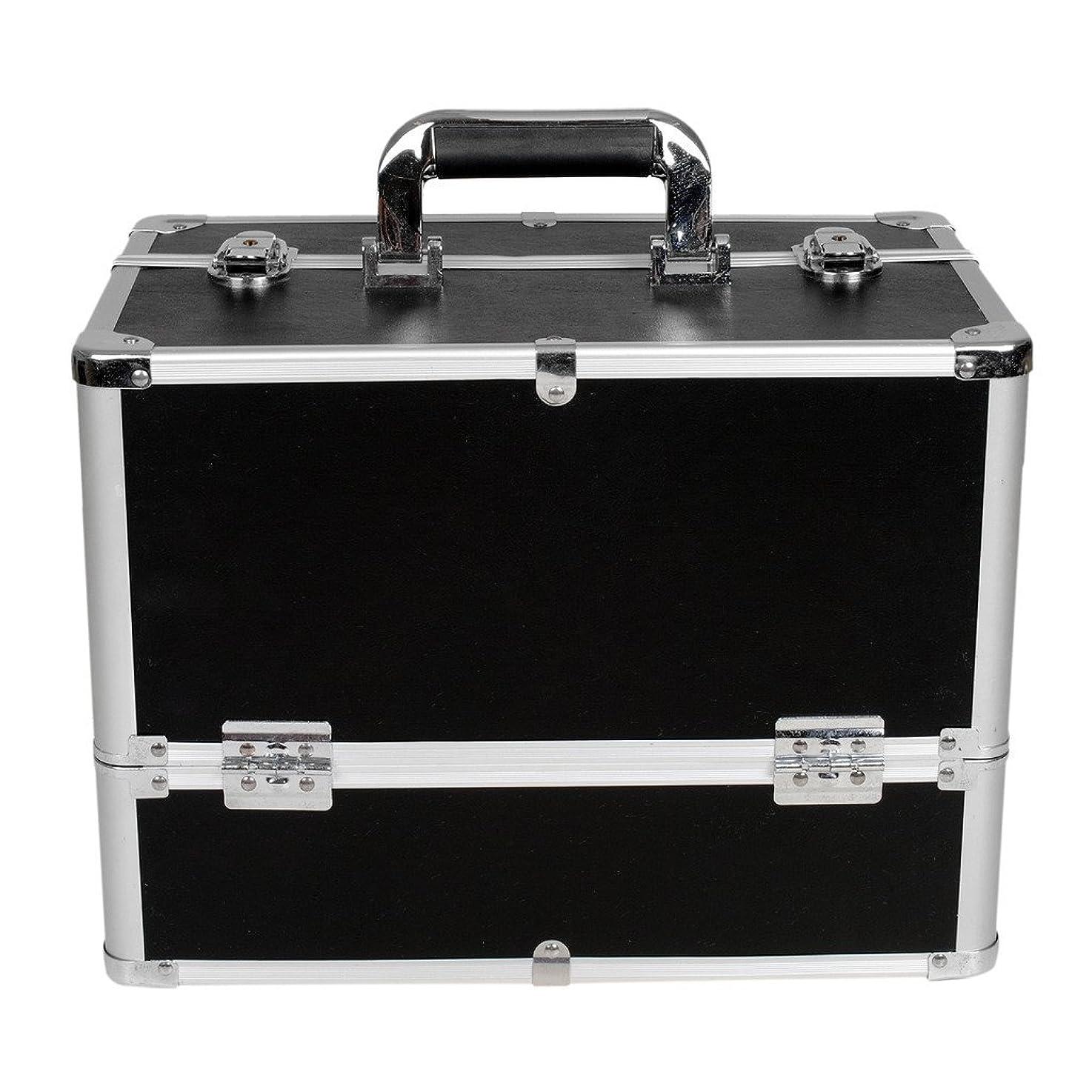 エアコン卵ヒューバートハドソン[プロ仕様]Hapilife メイクボックス 大容量 6つトレイ 幅37cm ネイル ジュエリー ドライヤー アクセサリー シューケア用品 収納ケース ブラック