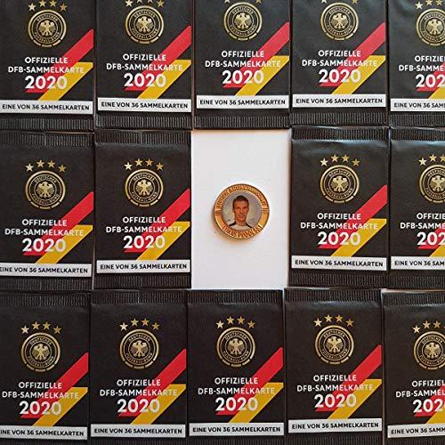 Rewe EM 2020 DFB - Sammelkarten - 100 Päckchen - Tüten - Karten - OVP + Eine Fußballmünze von 2006 - Lukas Podolski in Gold - RARITÄT