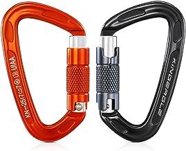 2PCS Climbing Carabiner, Upgrade Locking Carabiner, KINGEAGLE UIAA Certified(25KN) with Auto Locking, Rustproof&Snag Free,...