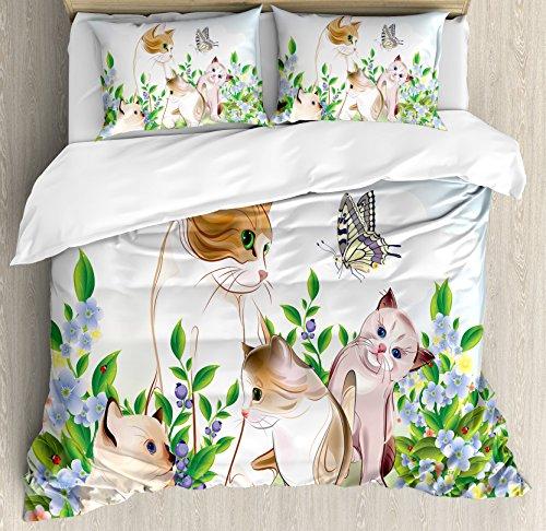 Ambesonne Juego de funda de edredón con diseño de gatitos en flor y campo, felices gatos con mariposa, diseño de dibujos animados, 3 piezas con 2 fundas de almohada, tamaño king, color azul y beige