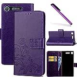 COTDINFOR Sony Xperia XZ1 Coque Housse Fille Élégant Rétro Fait Main Portefeuille avec Béquille de Carte de crédit Magnétique Flip Étui Cuir pour Sony Xperia XZ1 Clover Purple SD