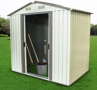 Backyard Shed Garden Shed Outdoor Storage Lawn Steel Roof Style Sheds 4 x 6 Feet,White