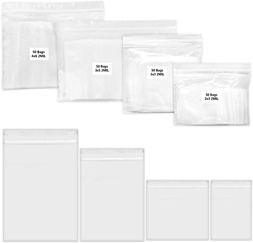 200 Pack 2 Mil Thick PP Bags for Jewelry, 4 Assorted Sizes, 2x3 3x3 3x5 4x6 Inch. 50 Counts Each Size, Clear Durable ...