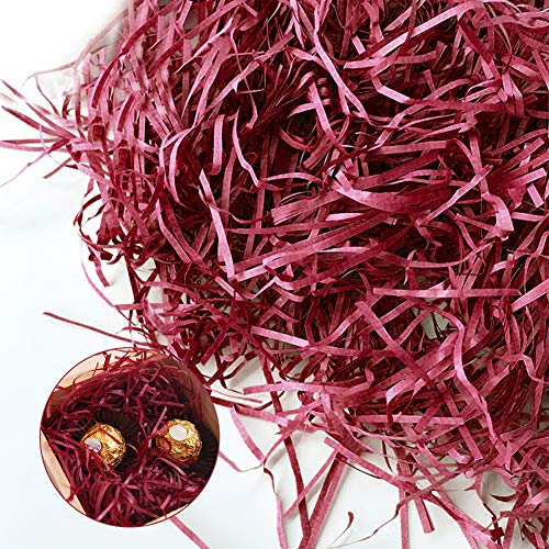 Papel de corte arrugado, papel arrugado de rafia decorado para dulces de boda, vino tinto y caja de regalo, relleno de papel de seda de color (vino rojo)