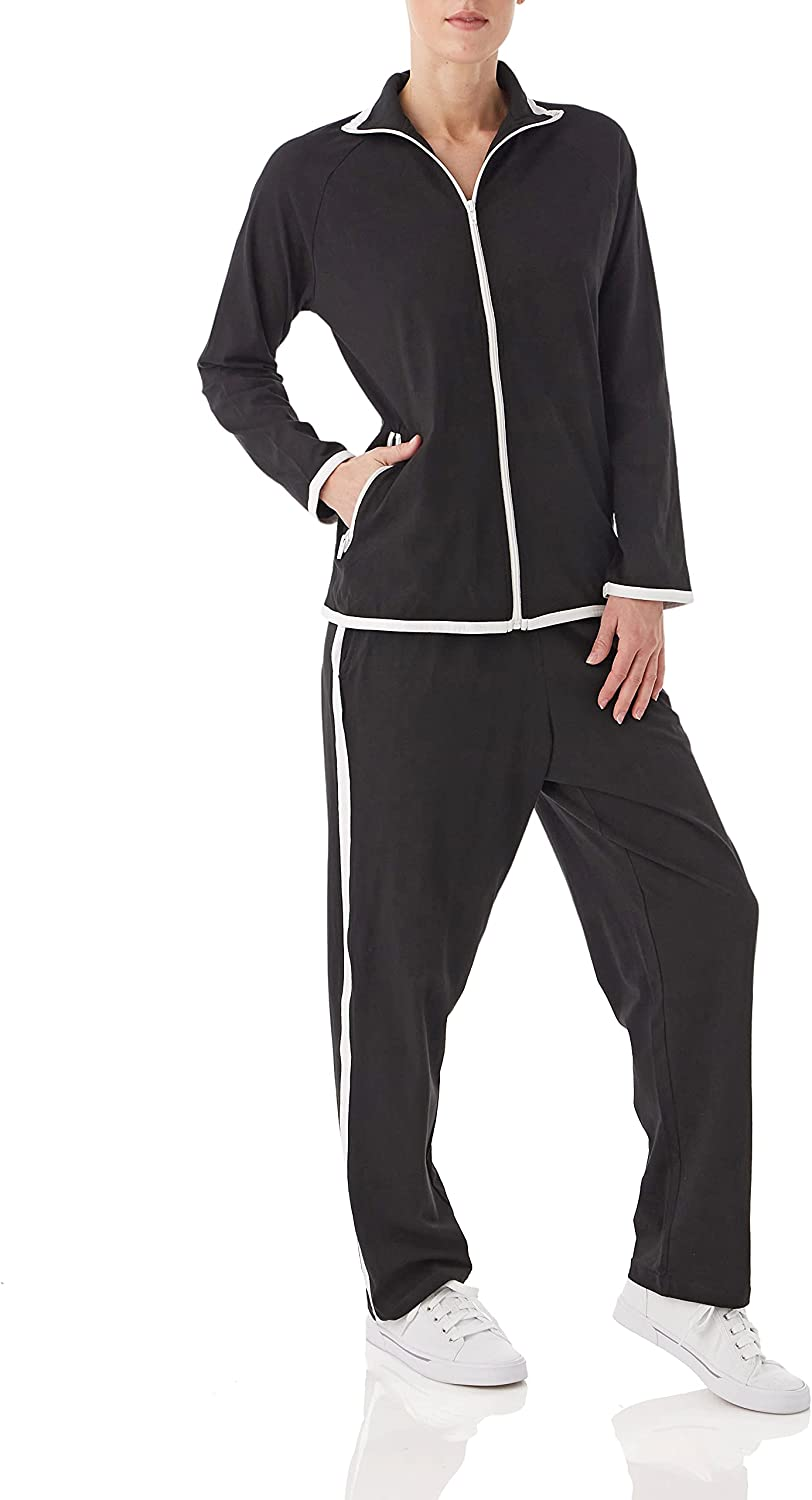 AmeriMark Women's Striped Sweat Suit Set – 100% Cotton Pants and Jacket Outfit
