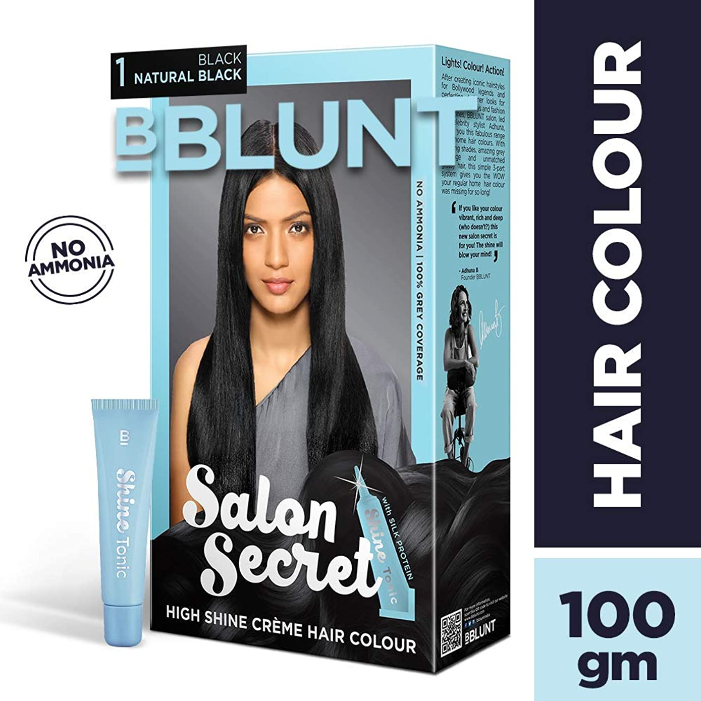 サイクルカイウス自明BBLUNT Salon Secret High Shine Creme Hair Colour, Black Natural Black 1, 100g with Shine Tonic, 8ml