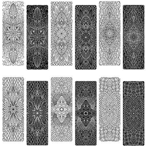 Livin Harmony || Color-in Mandala Bookmarks || Great Book Markers for Book Lovers. Girls, Boys, Kids, Teens, Women, and Everyone! (12 or 60) || Made in The USA (12)
