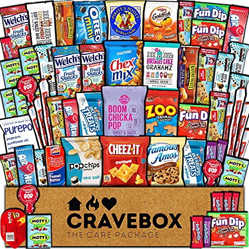 CraveBox Care Package (60 Count) Snacks Food Cookies Granola Bar Chips Candy Ultimate Variety Gift Box Pack Assortment Basket Bundle Mix Bulk Sampler Treats College Students Office Staff Halloween