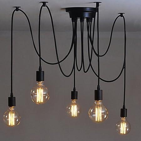 Éclairage Suspendu Edison 2Mètres Réglable Plafonnier Araignée Lumière Métal Fil Cage Pendentif Éclairage Lustre Moderne Industriel Lumière Lumineuse (Ampoule NON INCLUS) (5 Bras)