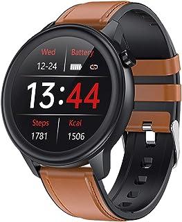 LTLJX Smartwatches, 1.3'' Reloj Inteligente de Medición de Temperatura con Pulsómetro Deportivo Fitness Pulsera Impermeable Podómetro Monitor de Sueño Cronómetros para iOS Android,Marrón