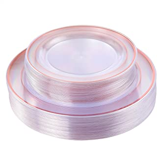 Rose Gold Plates 60 Pieces, Clear Plastic Party Plates, Premium Heavyweight Disposable Wedding Plates Includes: 30 Dinner Plates 10.25 Inch and 30 Salad/Dessert Plates 7.5 Inch