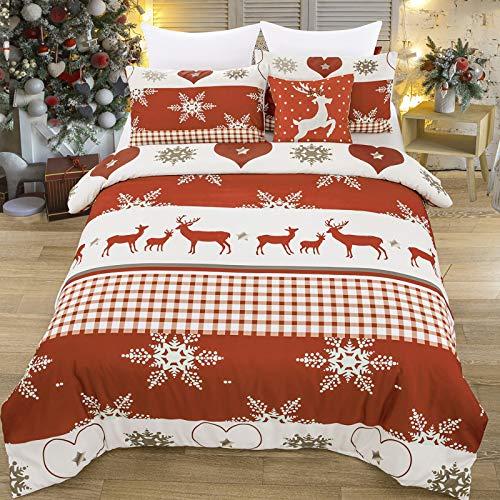 WONGS Bedding - Set copripiumino natalizio per letto matrimoniale, motivo fiocchi di neve, motivo Chrismas, alce e fiocchi di neve, in morbida microfibra con cerniera Clouse (doppio), colore: Rosso