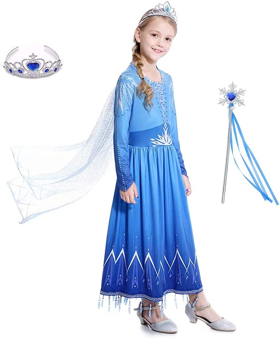Girls Ice Queen 2 Dress Blue Halloween Birthday Party Cosplay for Little Child Kid Teen 3-12 Years